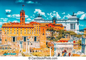 tabularium, palatino.the, italiano, foro, romano, colina, ...