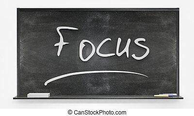 tabule, napsáný, 'focus'
