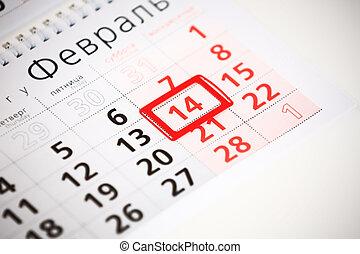 tabule, o, stěna kalendář, s, červeň, marka, dále, 14, únor, -, znejmilejší den