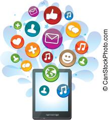 tabuleta, ícones, mídia, pc, luminoso, social