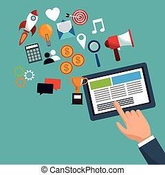 tabuleta, ícones, marketing, passe segurar, digital