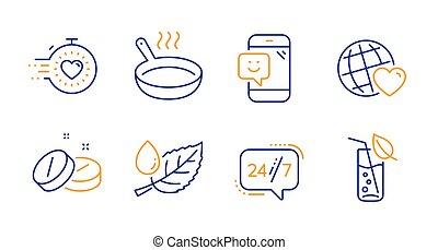 tabuleta, amigos, set., serviço, ícones, folha, fritar, orvalho, mundo, 24/7, signs., médico, vetorial, cronômetro, panela