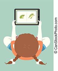 tabuleta, app, prática, livro, leitura menina, criança