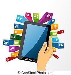tabuleta, app, segura, icons., mão, pc, human