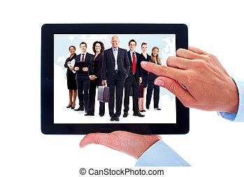 tabuleta, computador, e, grupo, de, negócio, pessoas.