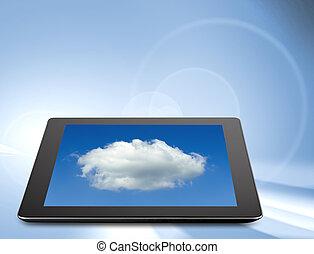 tabuleta, computador, (tablet, pc), ., modernos, portátil, almofada toque, dispositivo
