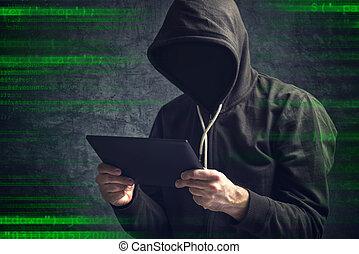 tabuleta, computador, unrecognizable, anônimo, homem digital