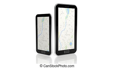 tabuleta, e, smartphone, com, mapa, isolado, branco