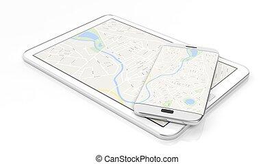 tabuleta, e, smartphone, com, mapa, ligado, tela, isolado, branco, experiência.