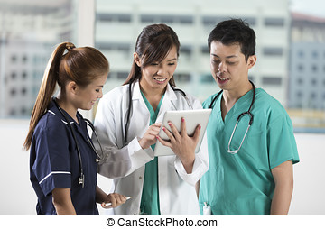 tabuleta, enfermeiras, equipe, pc., asiático, doutor,...