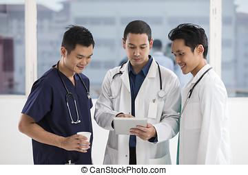 tabuleta, equipe, digital, doutores, usando, macho