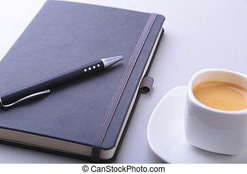 tabuleta, escritório, café, copo, space., computador, pc., teclado, tabela, caderno, cópia