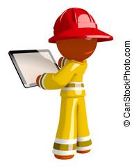 tabuleta, espaço, bombeiro, desenho, em branco, laranja, usando, homem