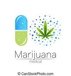 tabuleta, farmacêutica, sinal, marijuana, cápsula, planta, ...