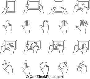 tabuleta, gesto, ícones
