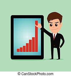 tabuleta, gráfico, cima, screen., segurando, crescendo, homem negócios