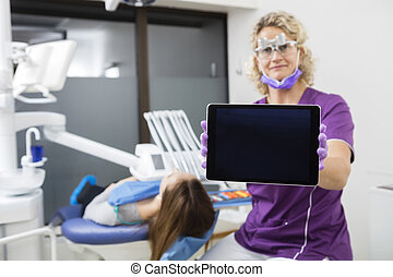 tabuleta, mostrando, odontólogo, computador, femininas, em branco, pati, tela