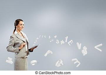 tabuleta, negócio mulher, trabalhando, atraente