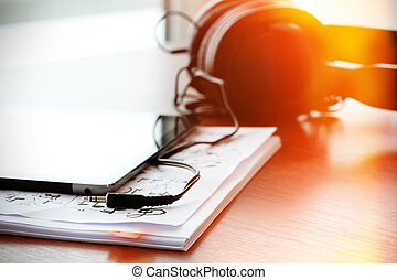 tabuleta, notas, fones, sha, papeis, digital, musical