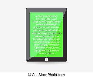 tabuleta, realístico, texto, eps10., screen., ilustração, pc, vetorial, pretas, touch-pad, verde, icon., representando, seu