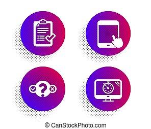 tabuleta, set., lista de verificação, pc, vetorial, teste, problema, sinal., cronômetro, seo, aprovado, ícones
