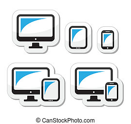 tabuleta, smartphone, computador, ícones