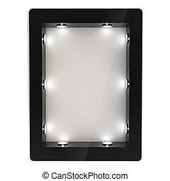 tabuleta, tela, almofada, dispositivo, eletrônico, backlight