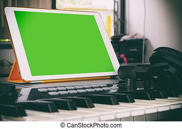 tabuleta, tela, aplicação, producao, música, em branco