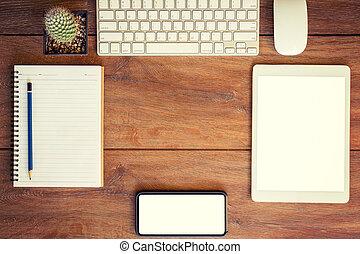 tabuleta, trabalhando, telefone, caderno, tabela, setting., place., desktop