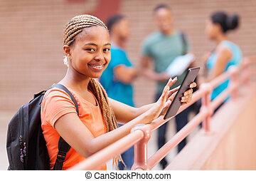 tabuleta, universidade, jovem, americano, computador, estudante, africano, usando