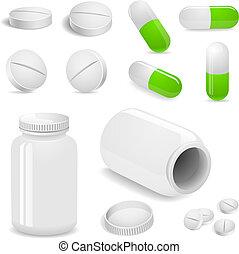 tabuletas, e, pílulas