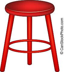 taburete, diseño, retro, rojo