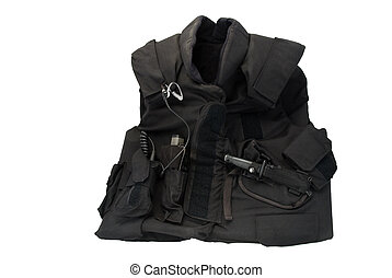 A bulletproof tactical vest, isolated, with knife, radio, and other equipment.