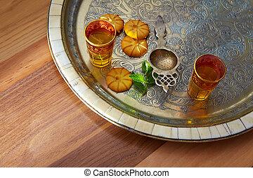 taca, styl, herbata, marokańczyk, zielony, mennica, srebro