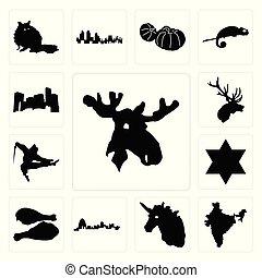 tacchino, alce, alce, set, gamba, icone, minnesota, india, davide, unicorno, missouri, stella, testa, ninja
