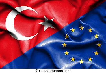 tacchino, bandierina sindacato, ondeggiare, europeo