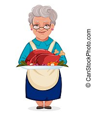 tacchino, carino, piastra, nonna, cotto, presa a terra