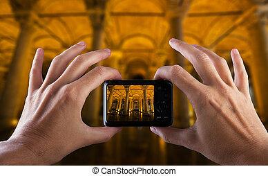tacchino, città, foto, viaggiare, istanbul., mano, macchina fotografica., fabbricazione, concept.