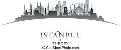 tacchino, città, silhouette, istanbul, orizzonte, fondo, bianco