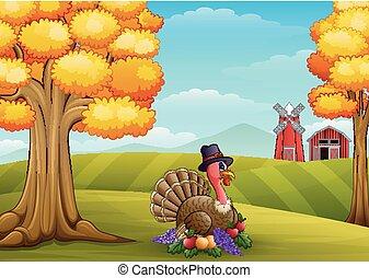 tacchino, fattoria, cartone animato, fondo