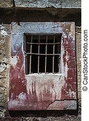 tacchino, finestra, storico, abbandonato, prigione