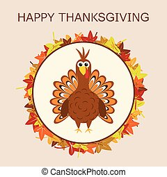 tacchino, foglie, ringraziamento, autunno, vettore, giorno