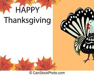tacchino, foglie, ringraziamento, fondo, vacanza, acero