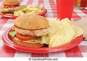 tacchino, hamburger, tavola picnic