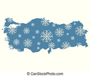 tacchino, mappa, fiocchi neve