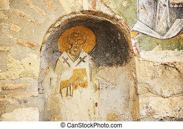 tacchino, myra, st parete., chiesa, nicholas, pittura