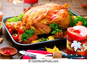 tacchino, patata, verdura, cena., arrostito, natale, ...