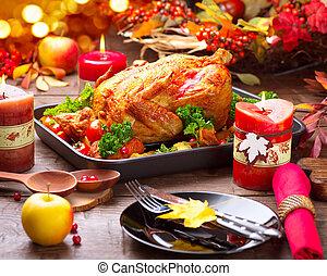 tacchino, patata, verdura, ringraziamento, o, cena, ...
