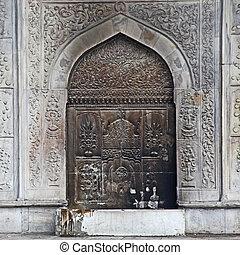 tacchino, stile, porta, istanbul, moschea, metallo, grata, intricato, decorato, arabo
