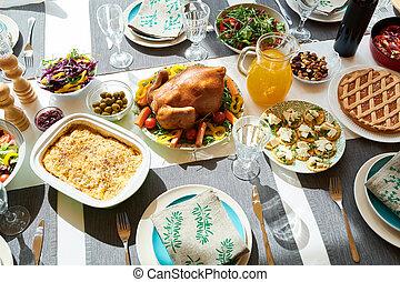 tacchino, tavola, cena, delizioso